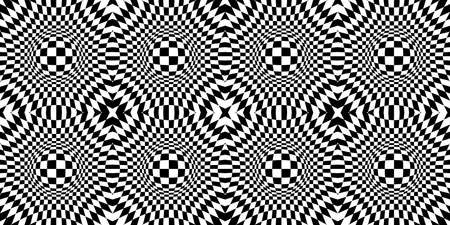 Animated hypnotic background. Contrasty Optical Psychedelic Illusion. Checkered seamless pattern with optical illusion of spherical volume, black and white geometric abstract background, chess board e Vectores