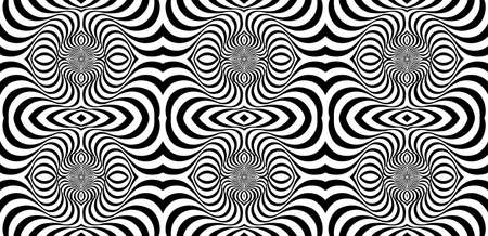 Movement illusion background. Distorted wave monochrome texture. Abstract dynamical rippled surface. Vector stripe deformation background. Black and white illustration. Abstract striped lines distorti