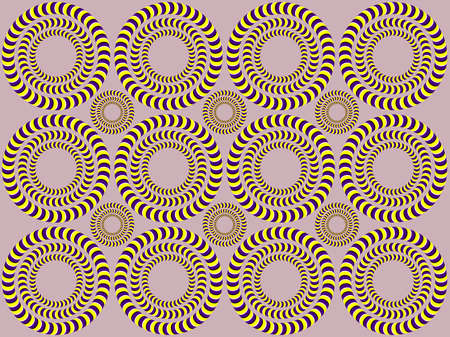 Psychedelic illusion of rotation. Rotation (Optical illusion). Bright background with the optical illusion of rotation of circles