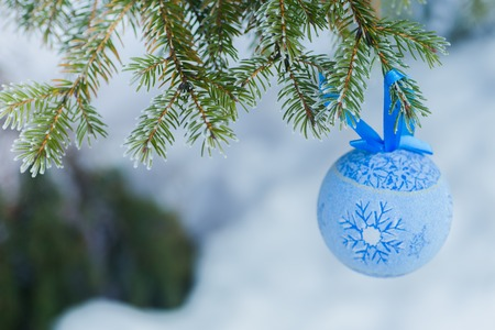 Ein blaues Pelzbaumspielzeug auf einem Zweig des blauen Tannenbaums blau, grün, weiß, Colorado-Blautanne, Picea pungens bedeckt mit Reif. Neujahrs Bekraund. Ein Platz zum Kopieren und Einfügen.