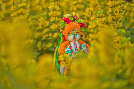 Ukrainian doll-motanka or rag doll. Stuffed Toys. Handmade textile doll ancient culture folk crafts tradition of Ukraine. Most Popular Souvenirs From Ukraine. Doll in Ukrainian dress ethnic style, in embroidered. Ukraines Independence Day. Doll-amulet