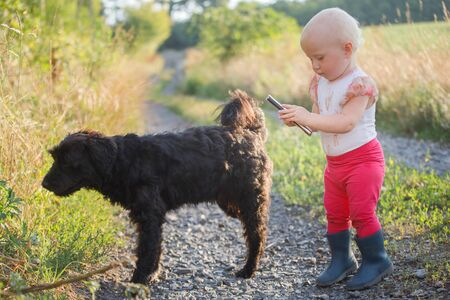 little girl in white clothes plays with black dog. Communication of children and animals. Good home dog outdoor.
