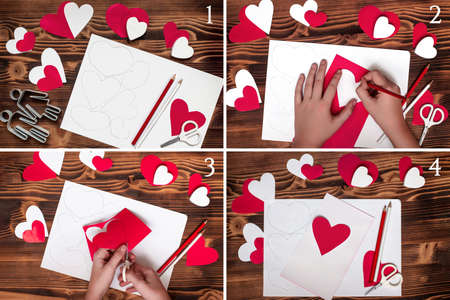 Step-by-step instruction to create paper blank in form of a heart for a valentine, garlands of hearts, or postcards Banco de Imagens