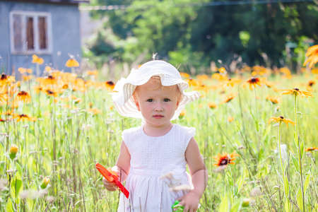 Portrait of beautiful little girl on background of yellow flowers in a meadow. happy childhood in nature. Walking while quarantine away from people 免版税图像