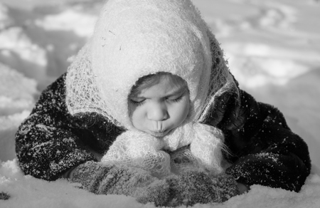 soviet: Girl in the snow black-and-white Soviet retro photo