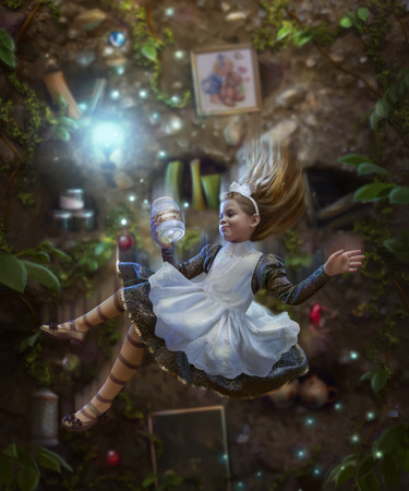 Alice falls down the rabbit hole and holds a jar