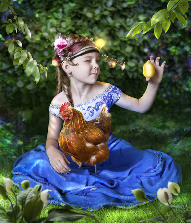 golden egg: Photo manipulation of the girl with a magnifying glass on his head sees a golden egg. On lap at the girl sitting hen. Stock Photo