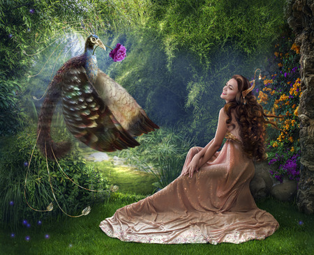 Photo Art fantasy with a beautiful princess and fairy bird and flower peony