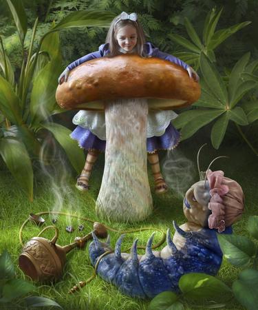 oruga: Ilustración para el cuento de Alicia en el país de las maravillas. Alice se sienta en una seta, se encuentra en la hierba al lado de la oruga azul Foto de archivo