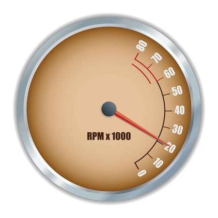 Retro tachometer. Vector illustration
