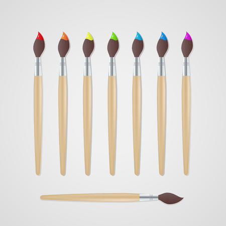Paint brushes set. Vector illustration