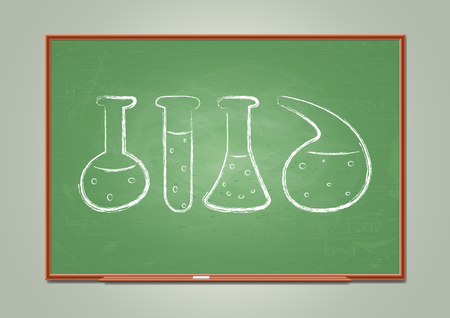 Blackboard with chemical test-tube symbols. Vector illustration