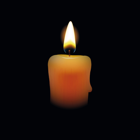 Candle on black background. Vector illustration Vettoriali