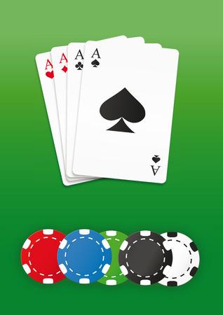 Poker chips and cards set. Vector illustration