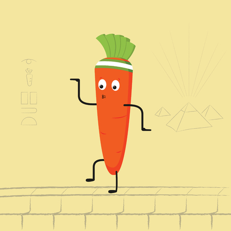 Funny cartoon carrot dancing. Vector illustration Illustration