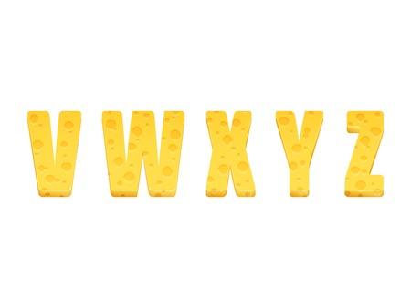 Cheese alphabet set. Letters V-Z. Vector illustration 일러스트
