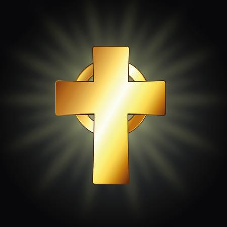 Golden celtic cross. Vector illustration Standard-Bild - 102822432
