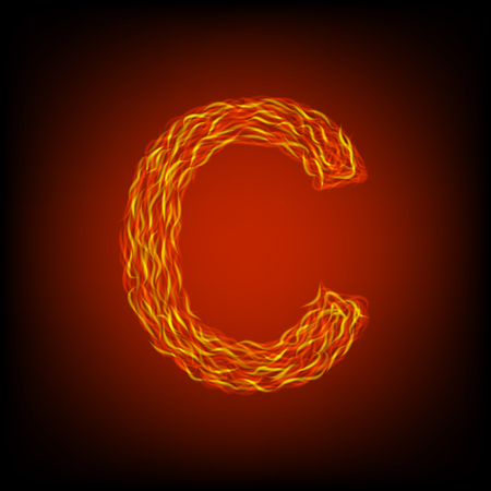 Fire letter C. Vector illustration, eps10