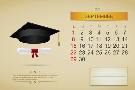 September 2013 calendar. Vector illustration