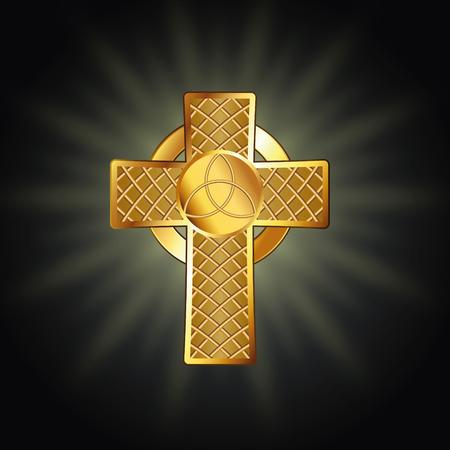 Golden celtic cross. Vector illustration Stock fotó - 102822439