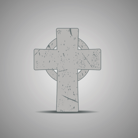 Stone celtic cross. Vector illustration