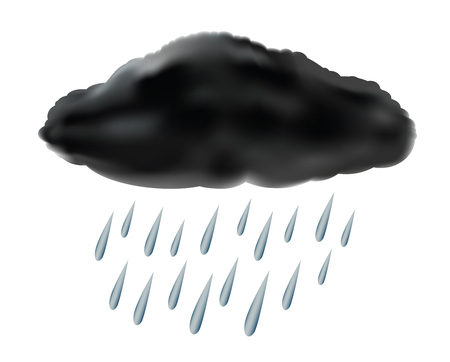 raincloud with raindrops, vector illustration Illustration