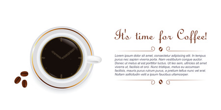 Cup of coffee with beans and clock shape. Vector illustration Vettoriali