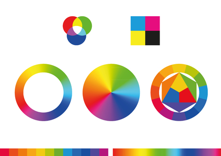 Color wheels and palette. Vector illustration, eps10