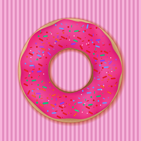 Pink donut on background. Vector illustration,eps10