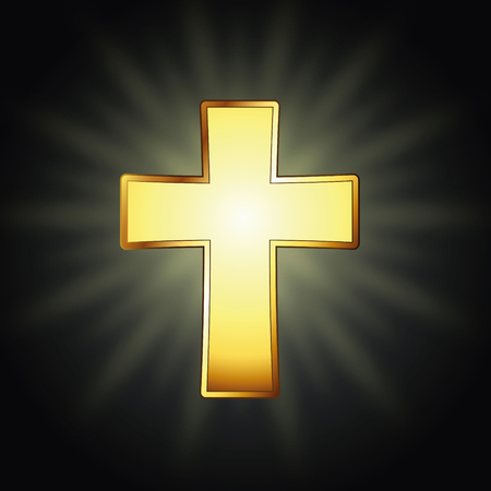 Golden cross. Vector illustration, eps10 Standard-Bild - 102881645