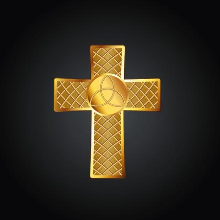Golden celtic cross. Vector illustration, eps10 Standard-Bild - 102881646