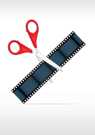 Scissors and film strip. Video editing. Vector illustration