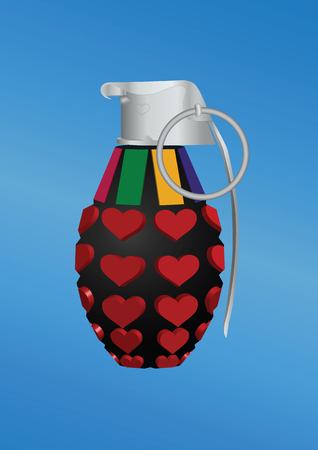 Heart-shape grenade icon. Vector illustration