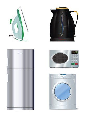 Set of home appliances icons in vector