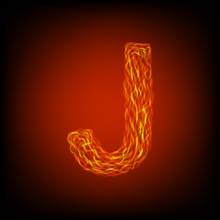 Fire letter J. Vector illustration