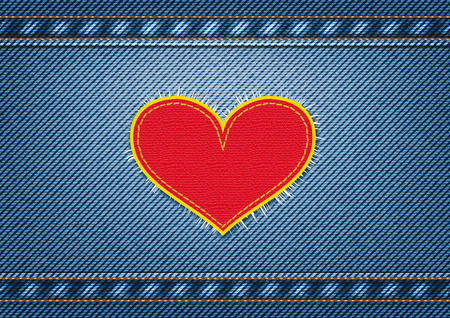 Jeans background with heart patch. Vector illustration, eps10 Ilustração
