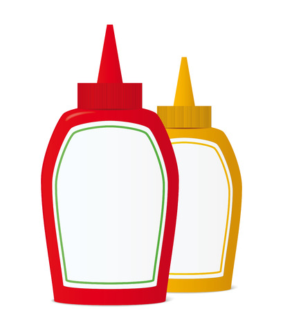 Ketchup and mustard bottles. Vector illustration