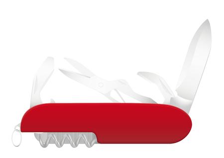 Swiss knife. Vector illustration