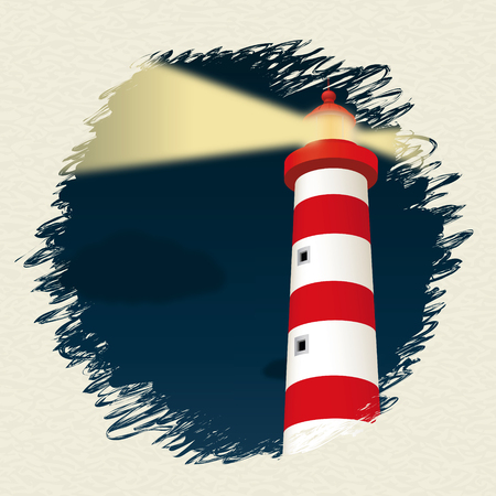 Lighthouse in the night. Vector illustration, eps10