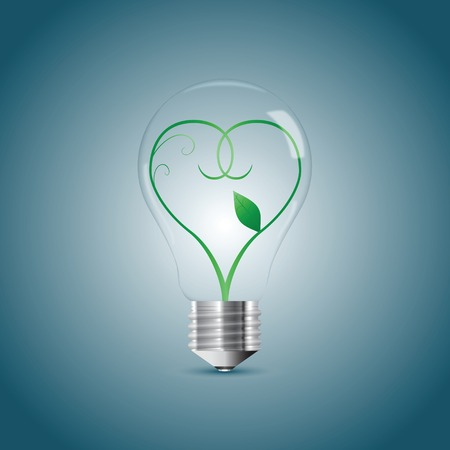 Bulb lamp with green sprout inside. Vector illustration, eps10