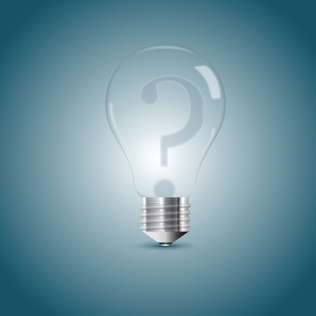 Bulb lamp with question sign inside. Vector illustration, eps10 Banque d'images - 102882359