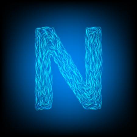 Water letter N. Vector illustration
