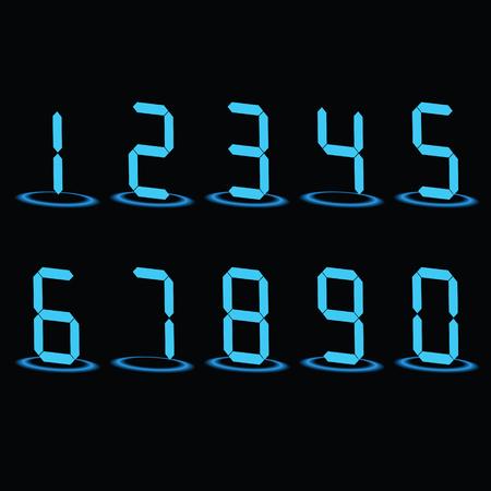 Digital LED Numbers. Vector illustration, eps10