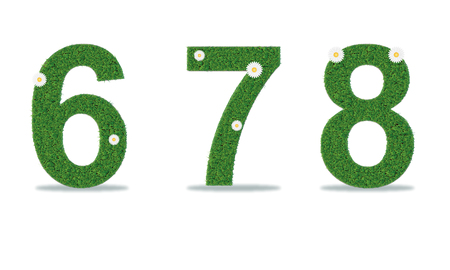 Grass numbers 6-8. Vector illustration, eps10
