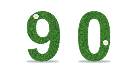 Grass numbers 9-0. Vector illustration, eps10