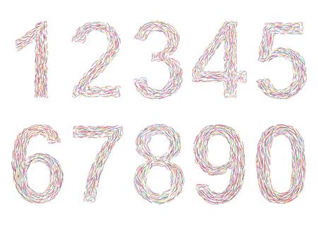 Varicolored numbers. Vector illustration, eps10