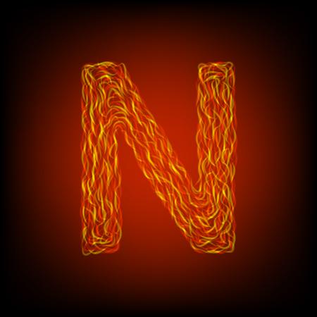Fire letter N. Vector illustration, eps10