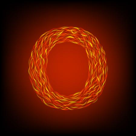 Fire letter O. Vector illustration, eps10 Ilustração