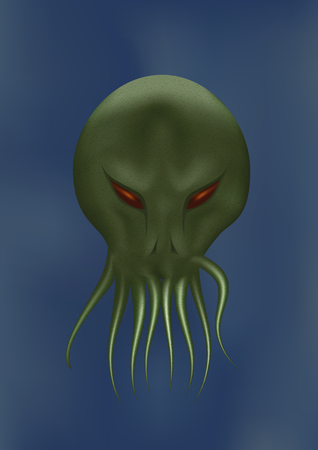 Scary octopus face. Vector illustration