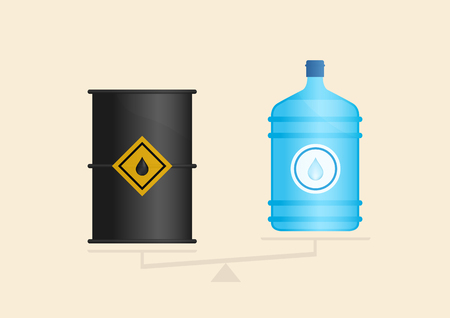 Water and oil icons on scales. Vector illustration, eps10
